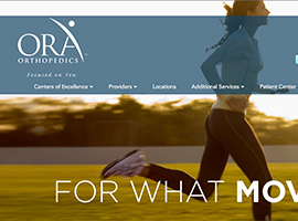 ORA Orthopedics website detail images