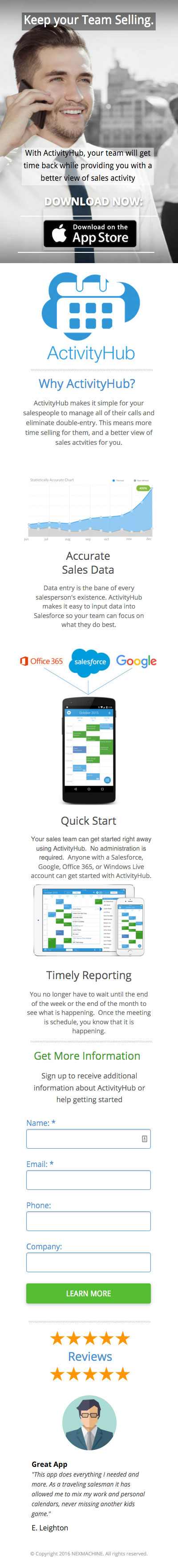 ActivityHub Sales Manager landing page mobile screenshot
