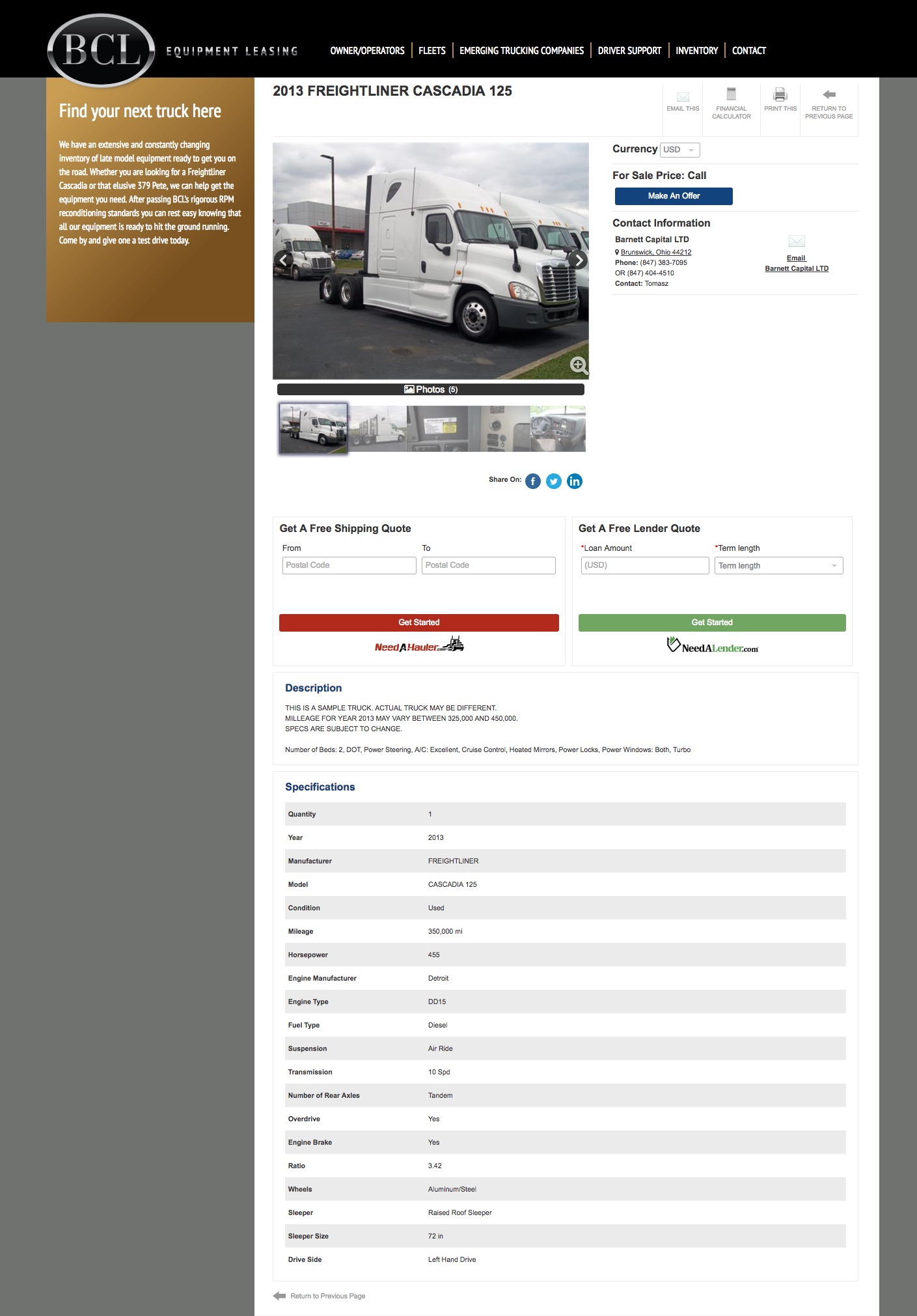 BCL Equipment Leasing listings page screenshot