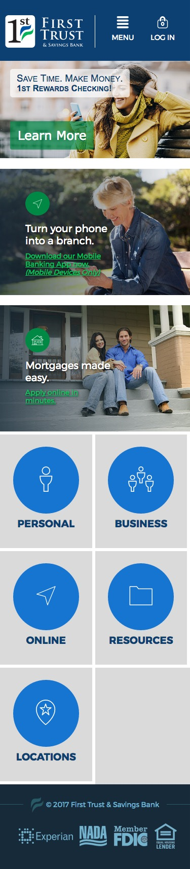 First Trust Bank mobile homepage screenshot