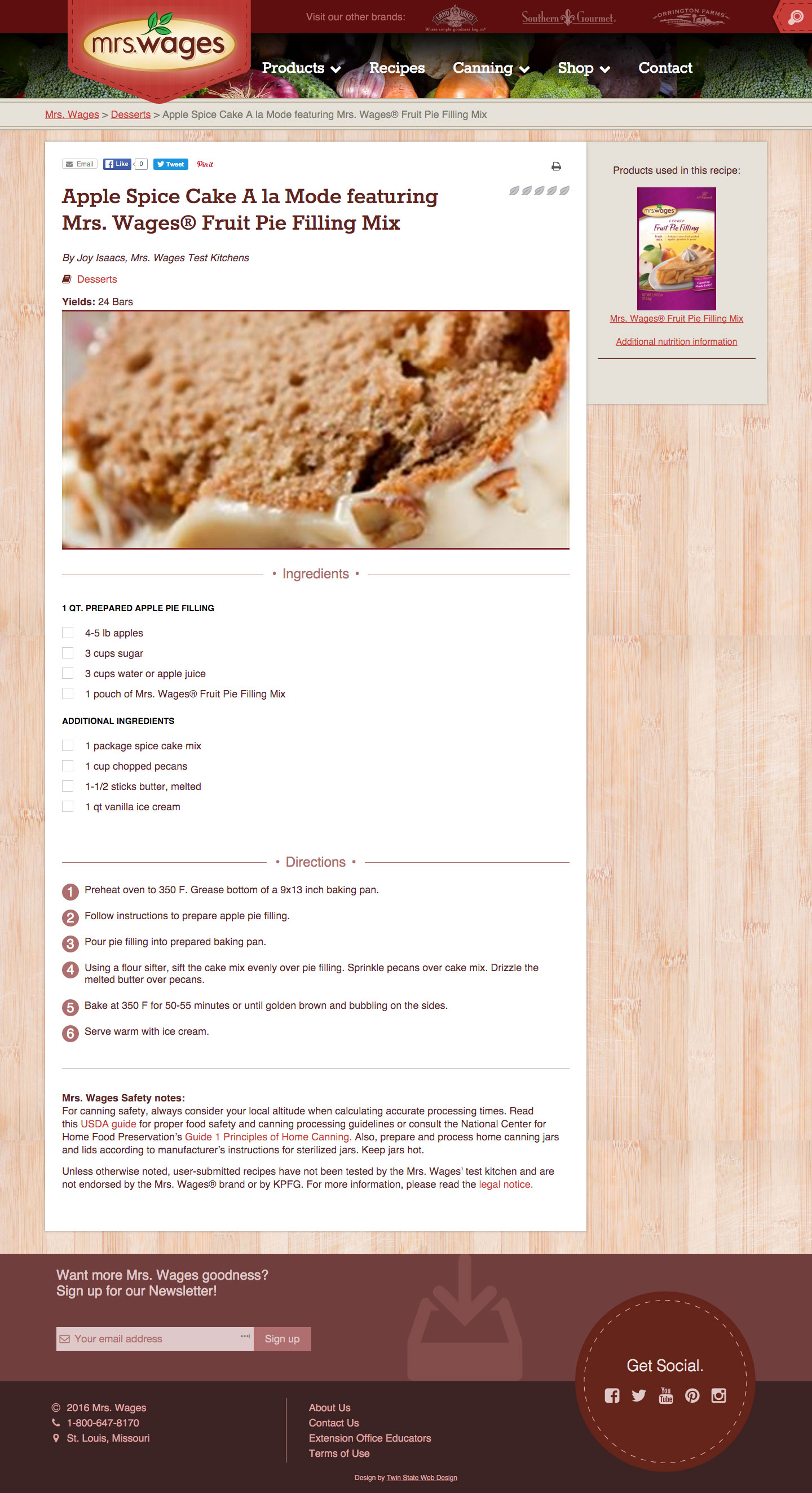 Mrs. Wages Desktop recipe page Screen shot
