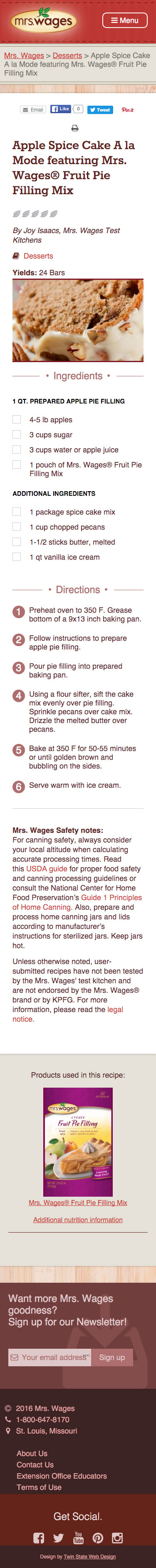 Mrs. Wages Mobile recipe page Screen shot