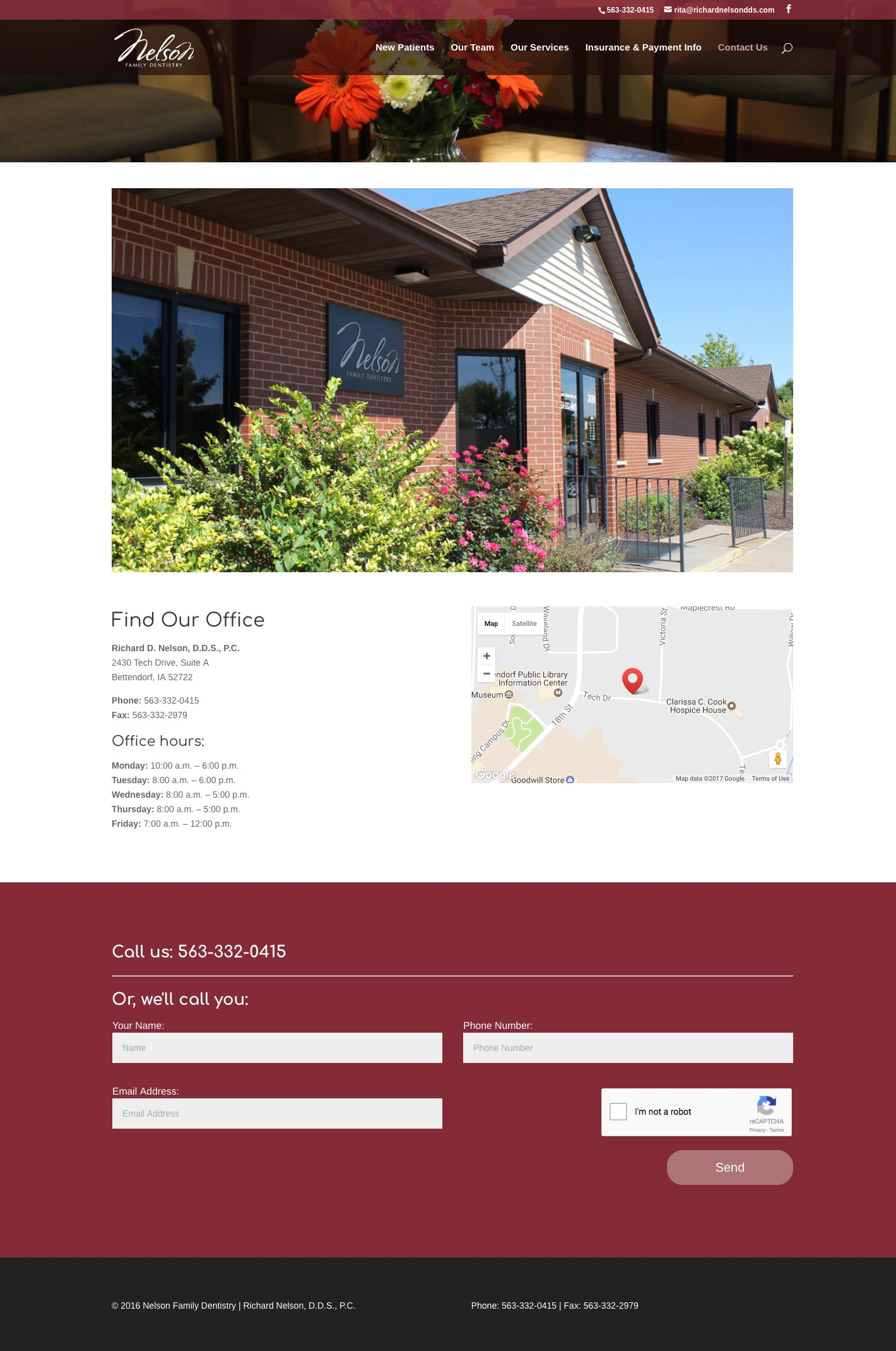 Nelson Family Dentistry contact page screenshot