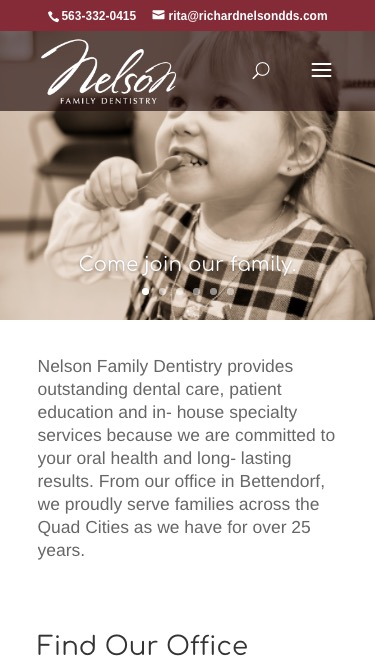 Nelson Family Dentistry mobile page screenshot