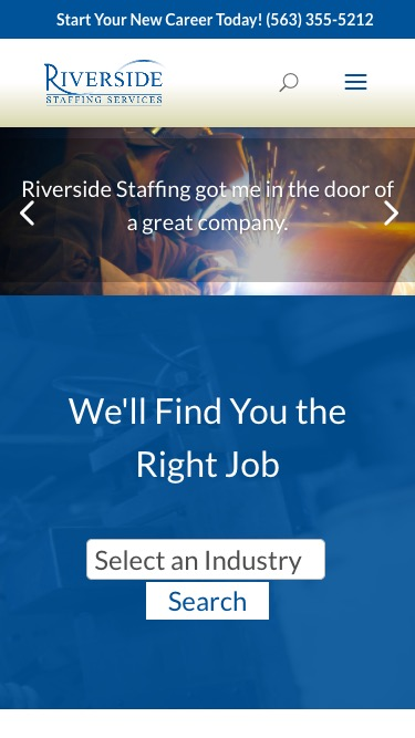 Riverside Staffing mobile page screenshot