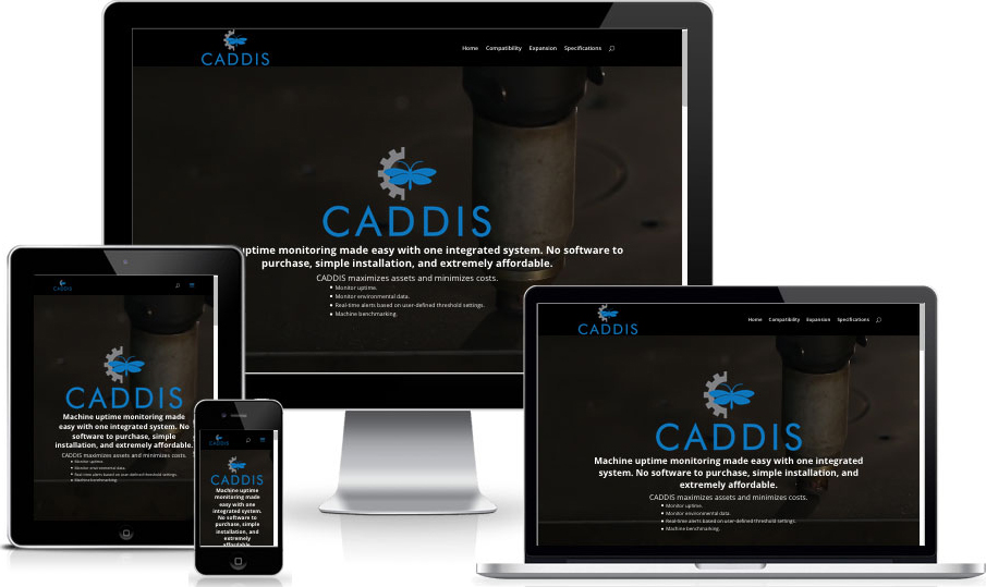 Various devices with Caddis website loaded on them.