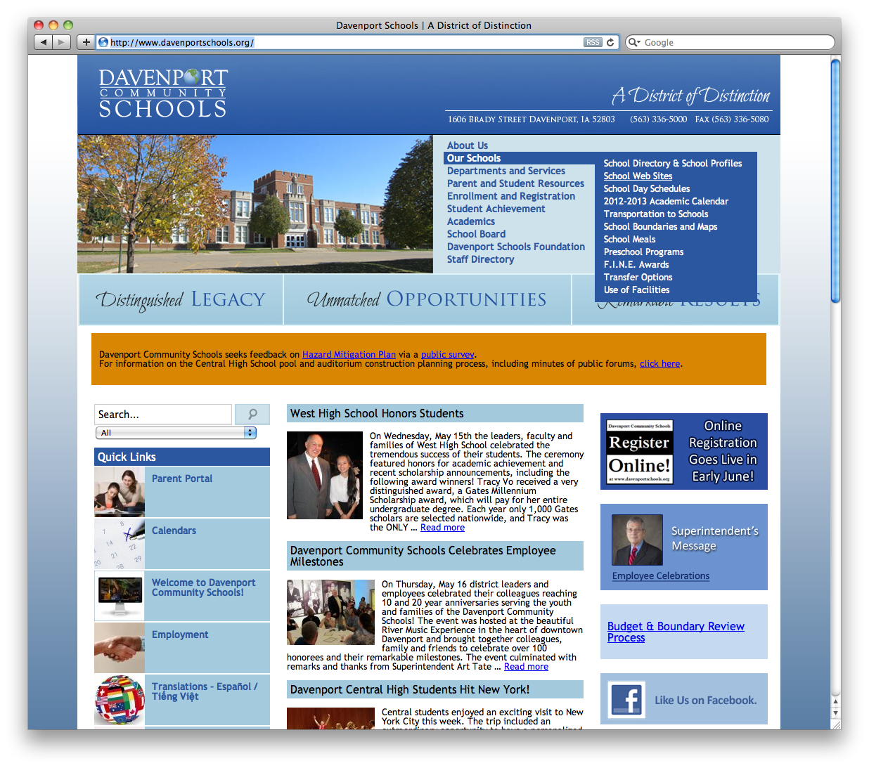 Davenport Schools Homepage with Dropdown
