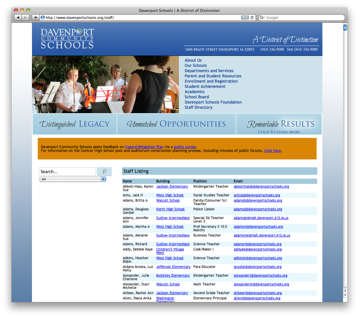 Davenport Schools Staff Listings Page