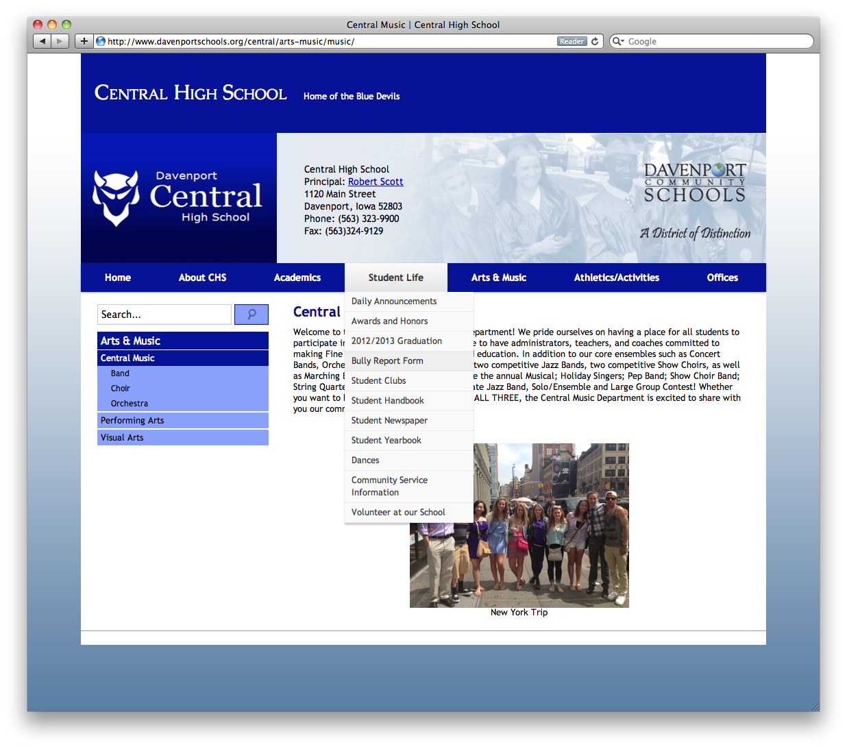 Davenport Central High School Home Page