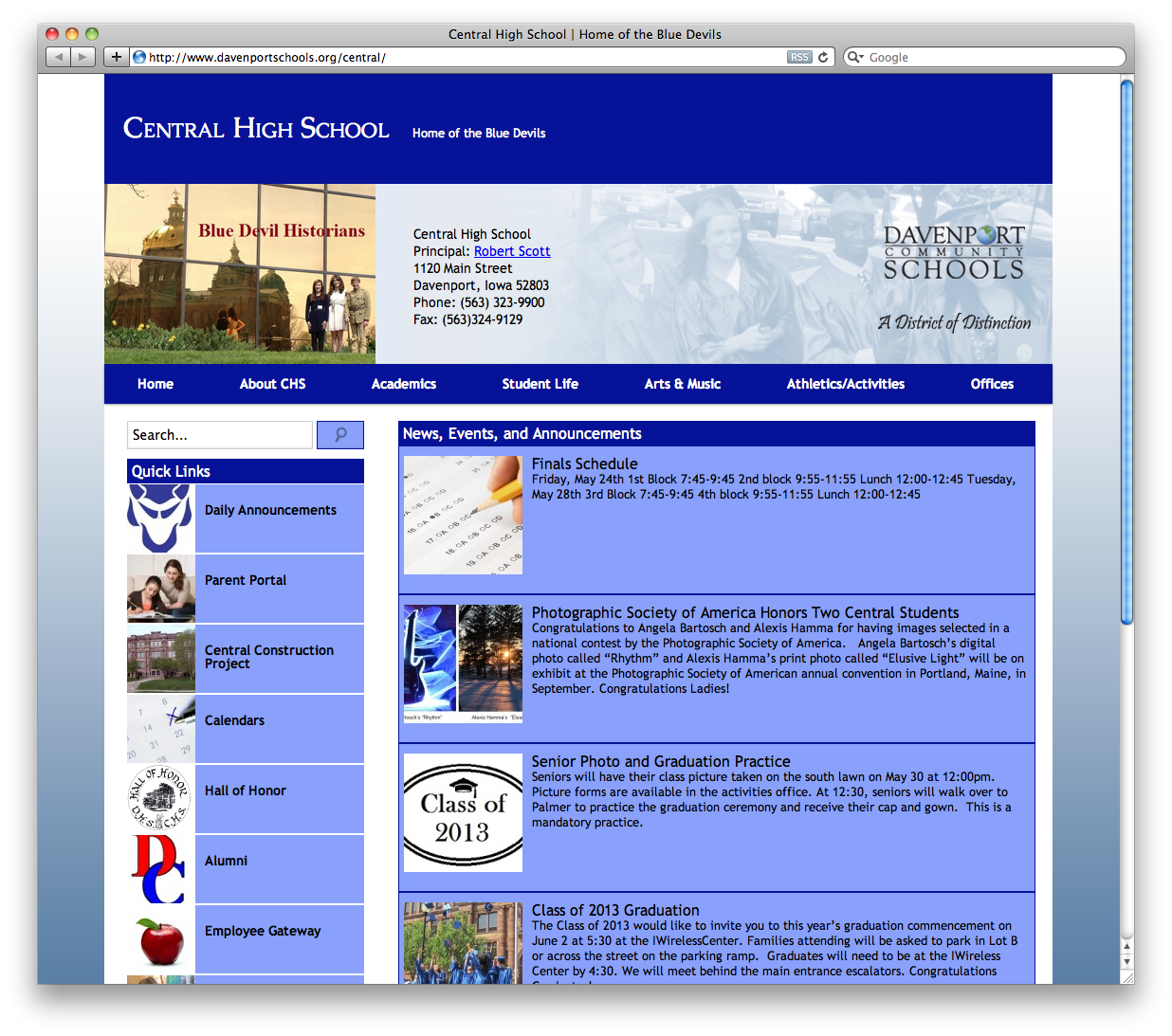Davenport Central High School News Page