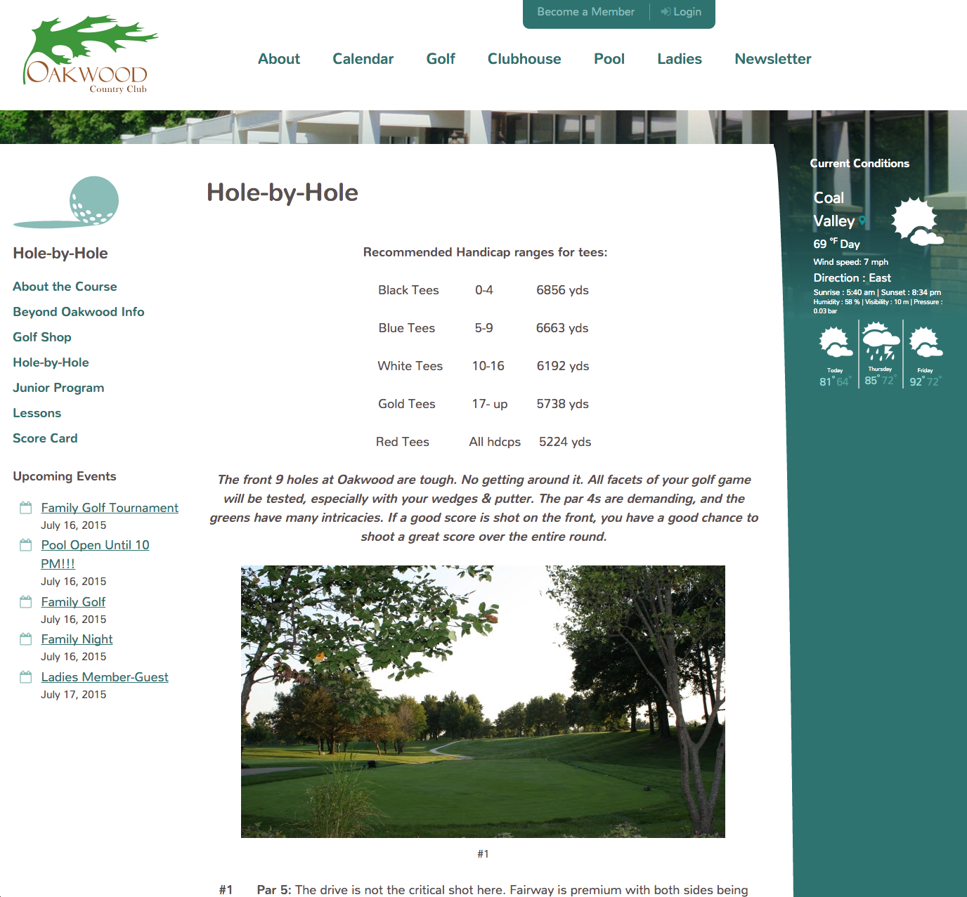 Oakwood Country Club Golf Hole-by-Hole page