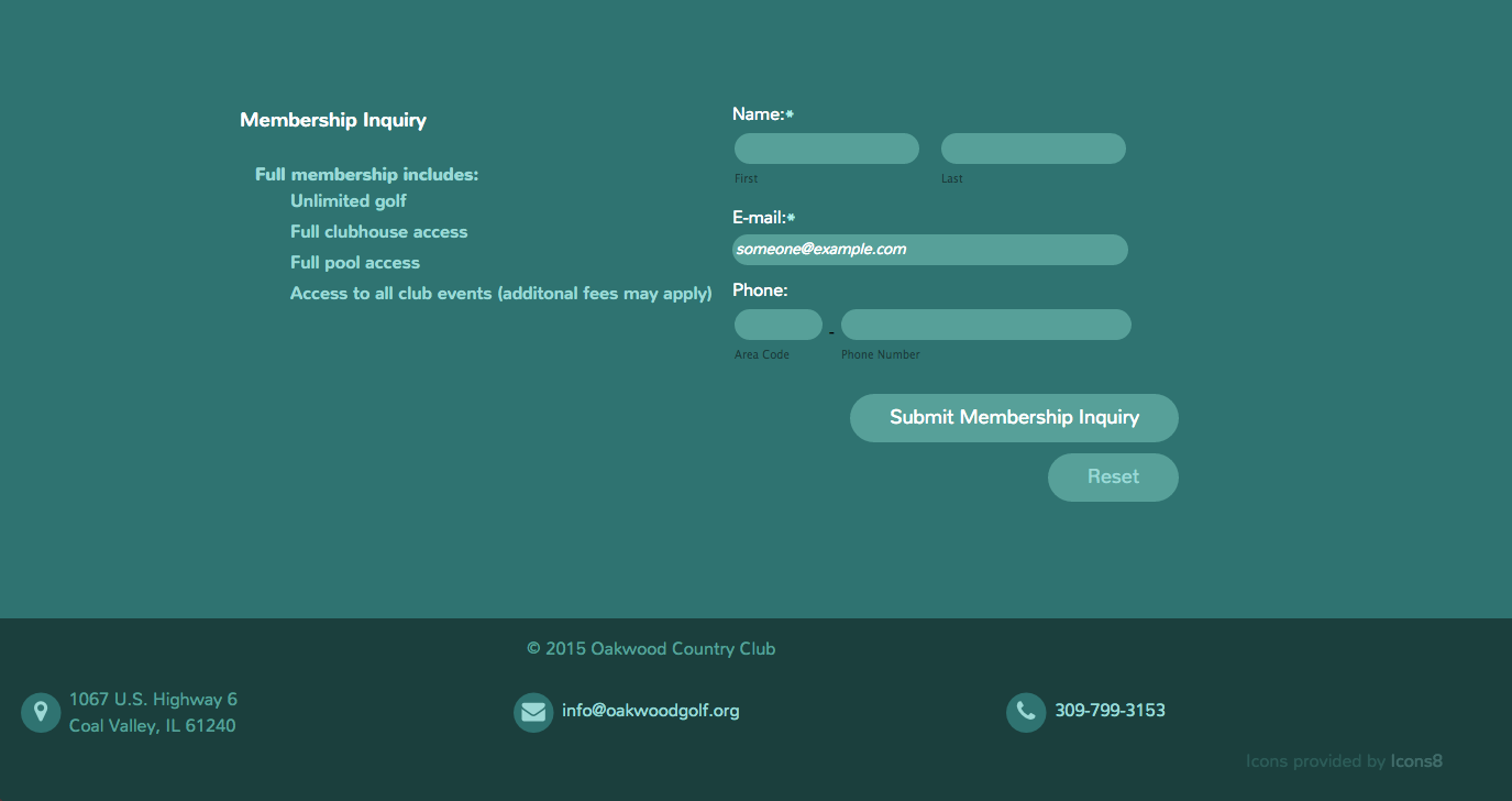 Oakwood Country Club membership form