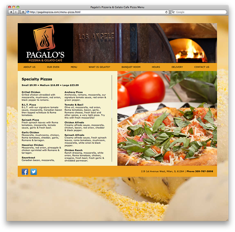 Pagalo's Pizzeria Specialty Pizzas Page