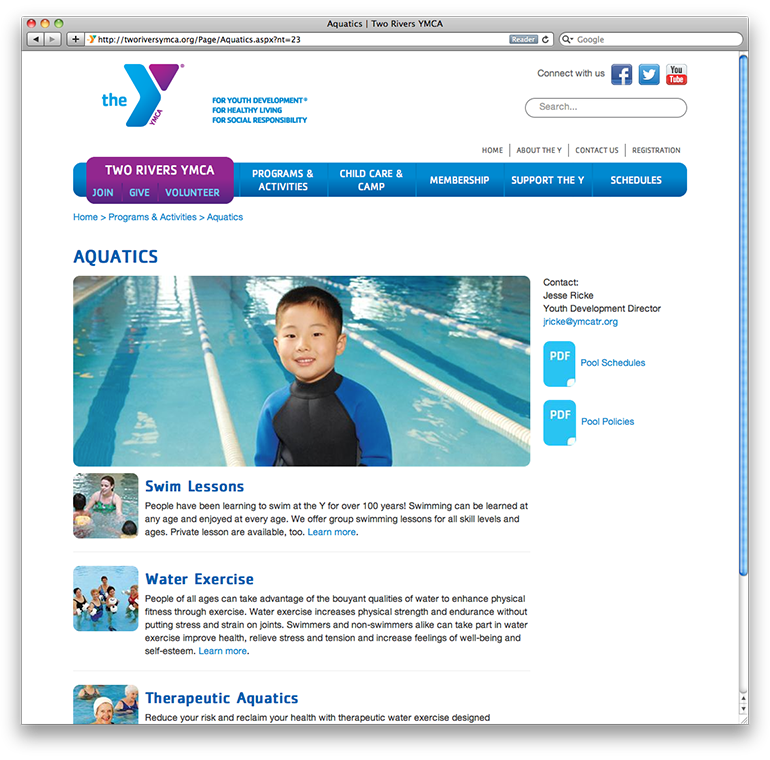 Two Rivers YMCA Aquatics Page