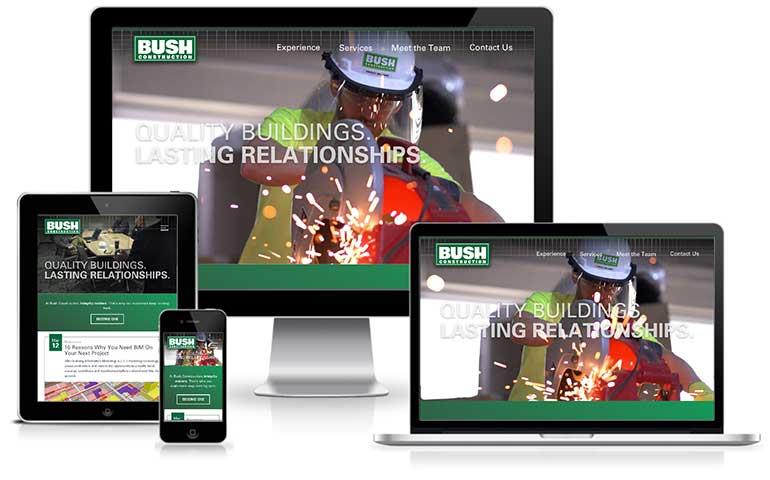 Screenshot of Bush Construction website on devices