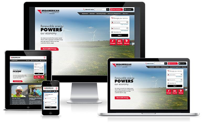 Screenshot of MidAmerican Energy website on devices