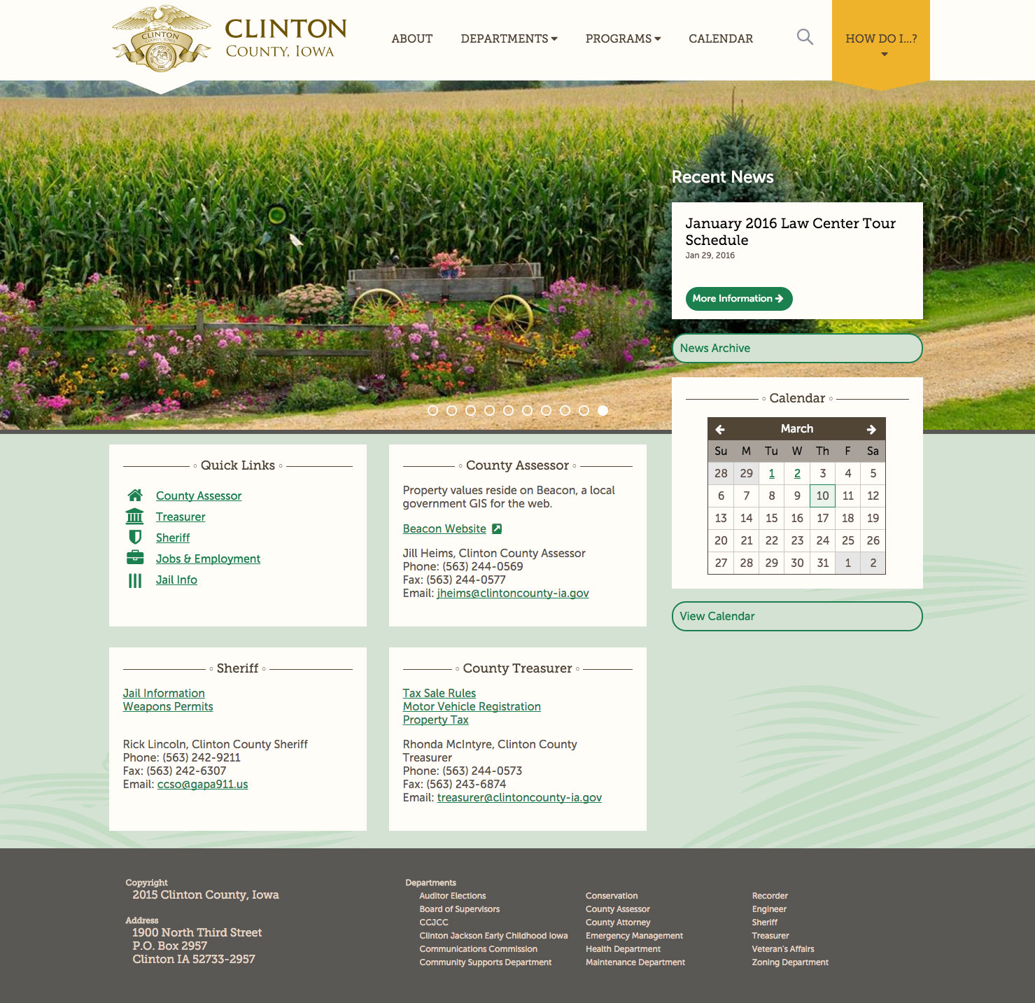 Clinton County desktop home page screenshot