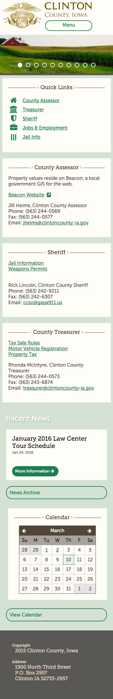Clinton County mobile home page screenshot