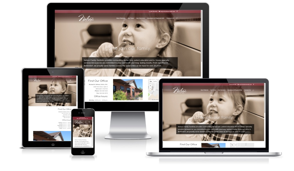 Nelson Family Dentistry responsive device layout