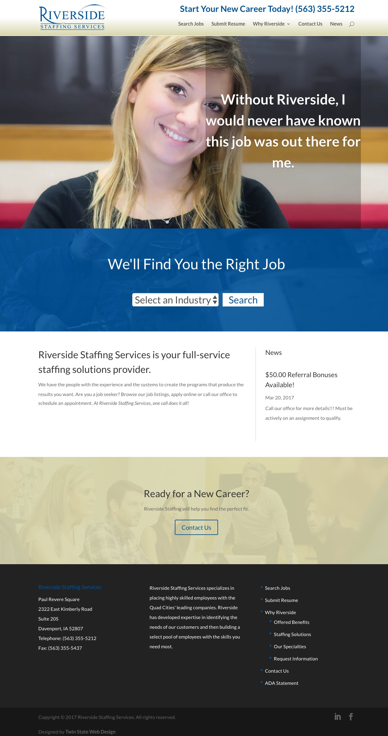 Riverside Staffing homepage screenshot
