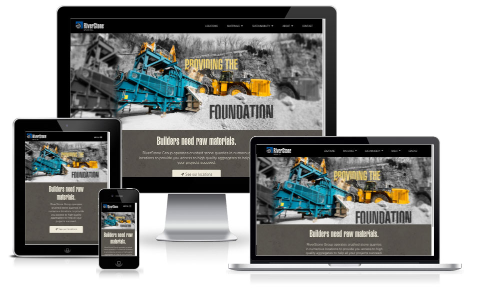 Riverstone Group responsive design inside of a laptop, desktop, tablet, and mobile phone screen.