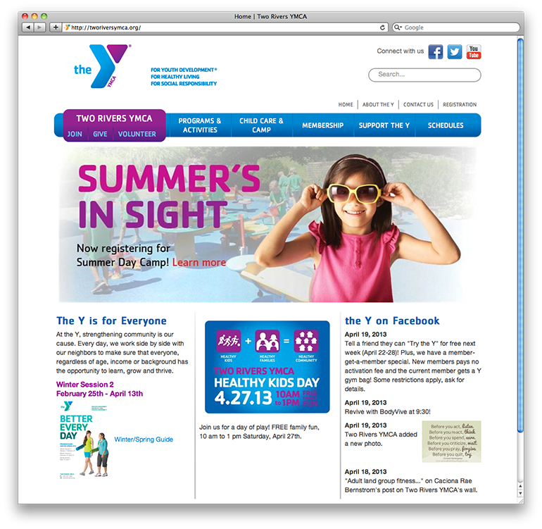 Two Rivers YMCA Homepage