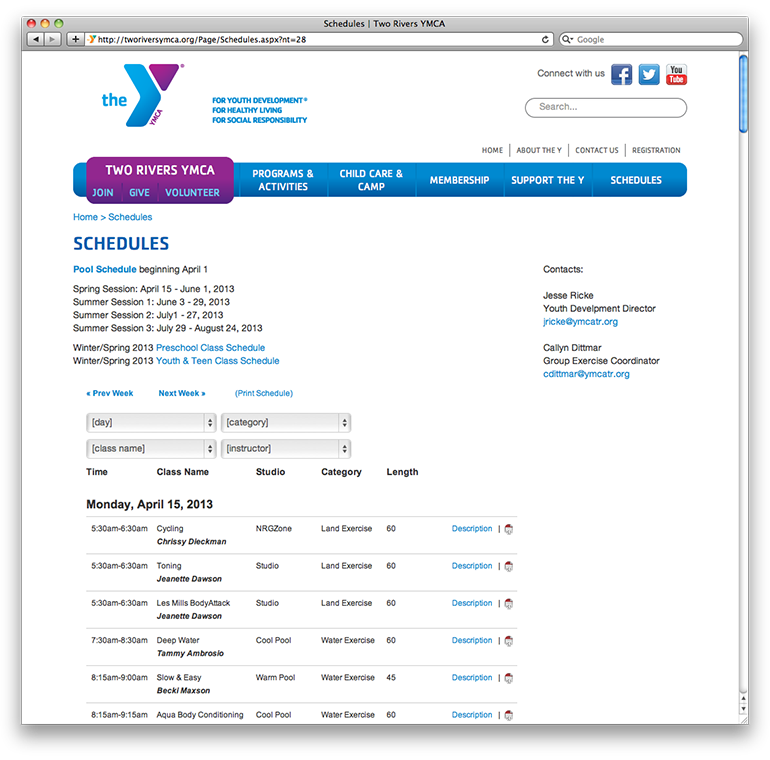 Two Rivers YMCA Schedules Page